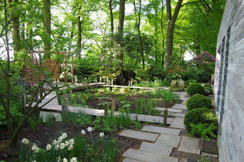 Schwimmbadebene Sumpfgarten Gartenplanung